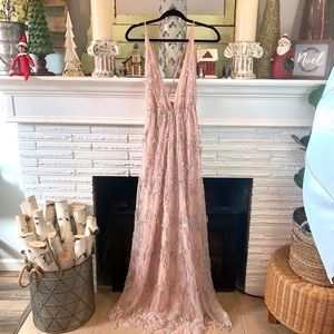 WINDSOR Nude Mesh Gown with Tassel Sequins